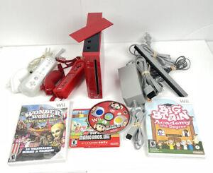Nintendo Wii Red Console 25th Anniv Edition w 2 Controllers 2 Nunchuks Bundle