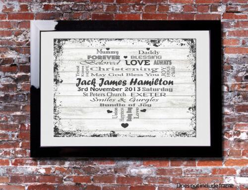 Personalised CHRISTENING Keepsake Gift Picture Print Canvas Word Art Present