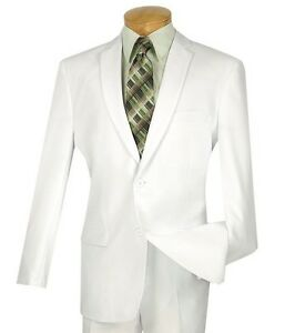 Men's White 2 Button Slim Fit Polyester Suit NEW