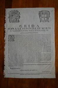 GRIDA-DENUNCIA-DEI-MORTI-PESTE-UFFICIO-SANITA-039-MODENA-1630-DOCUMENT-PLAGUE-RARE
