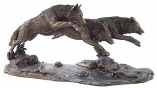 "14"" Wolves on the Run Statue Animal Figure Wolf Decor Figurine"