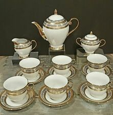 NEW Bone China Tea Set For 6 White/Gold 17 PCS Versace Print/Germany Design*SALE