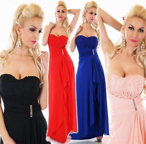 Mujer Bodenlanges Vestido Maxi Fiesta de Noche Baile Ganchillo Damas Honor