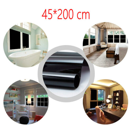 Blackout Window Film Privacy Static Cling Curtain Block Sun UV Protection Shade