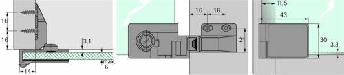 Glastürscharnier ET 5160 Zinkdruckguss Scharnier Paar Drehtür Glastür aufliegend