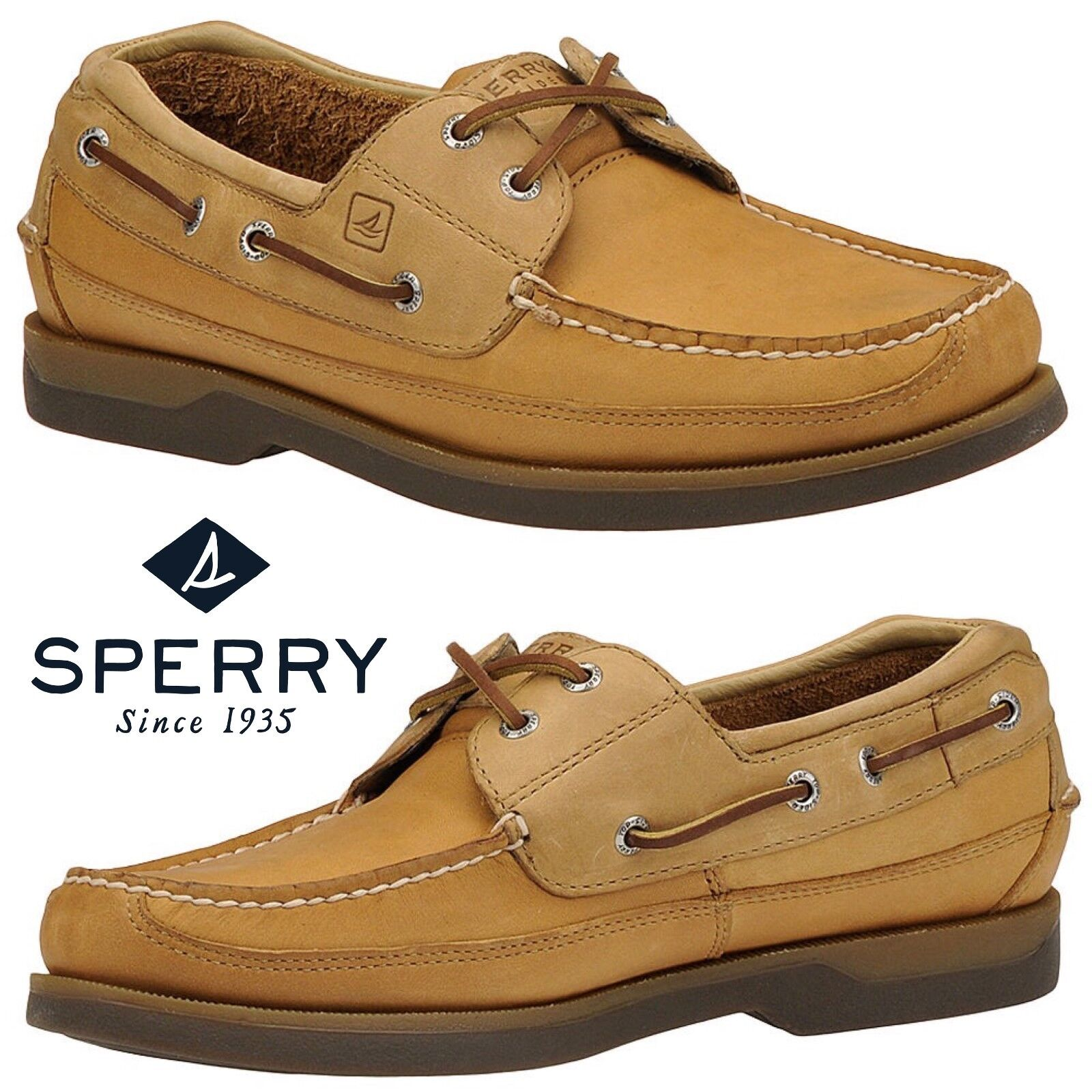 Sperry Top-Sider Mako 2-Eye Canoe Moc zapatos Work Comfort Leather Walking NWB