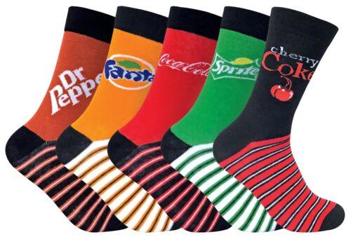 Coca Cola 5-er Pack Unisex Schicke Lustig Muster Neuheit Baumwolle Socken