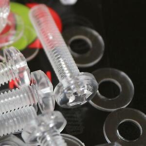 20-x-Acrilico-Bulloni-e-Dadi-M4-x-20mm-in-Plastica-Trasparente-Acrilico-Viti