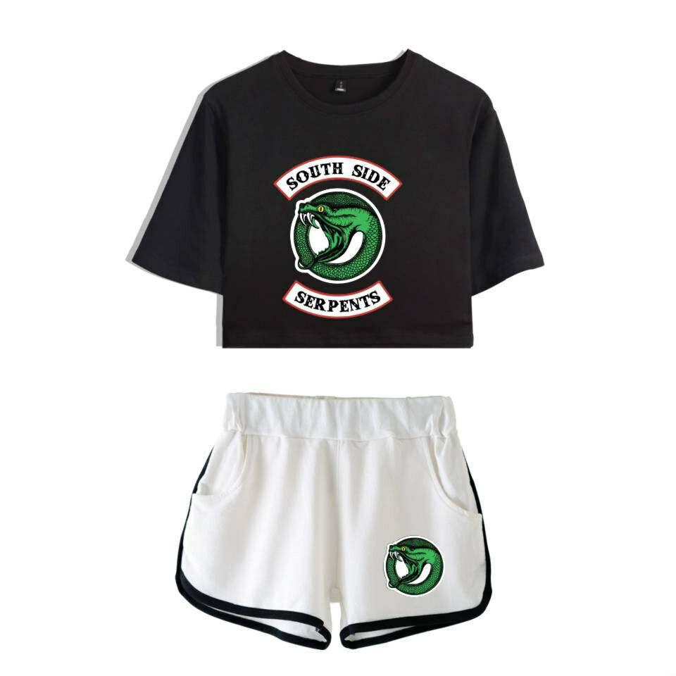 Riverdale Cool Popolare Donne Casuale Stampare Raccolto Manica Corta e Shorts 5
