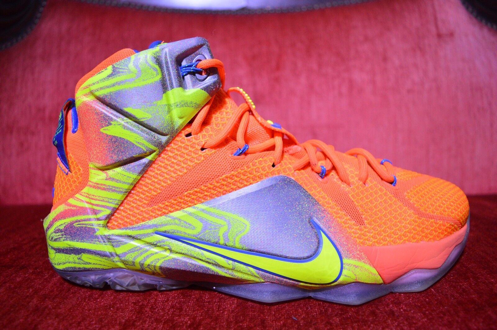 Nike Lebron XII Six Meridians Hyper Crimson Orange Blue USA Size 9 684593 870
