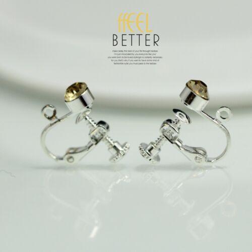 Clips Schraubbar für DIY Ohrringe Silber Kristall Gelb Original