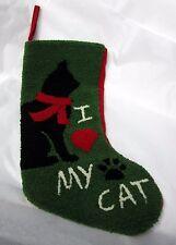 "18"" I LOVE MY CAT - CHRISTMAS STOCKING Punch Needle Hook Rug NEW"