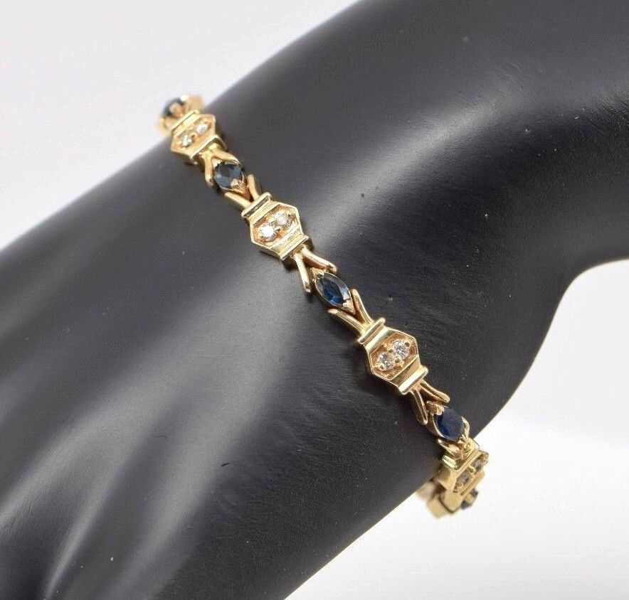 14k Yellow gold Diamond and Sapphire Bracelet, Circa 1970