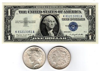 4 Mixed 90/% Silver Quarters 1940/'s 50/'s 60/'s /&  ONE $1.00 Silver Certificate