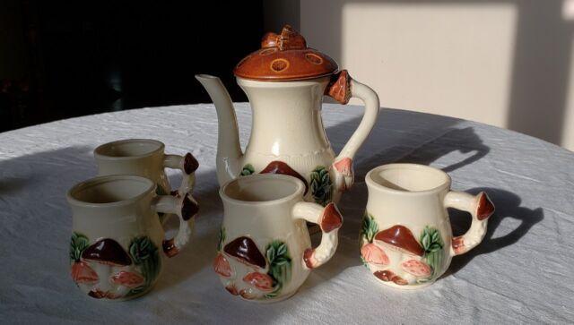 Vintage Mushroom Ceramic Coffee Pot Mug Cups 5 Pc Set Japan Ebay