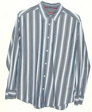 Ralph Lauren CHAPS Denim Mens Blue Grey Striped Long Sleeve Button Down Shirt M