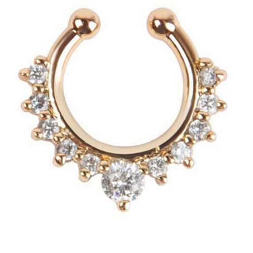 Fake Septum Clicker Nose Ring Non Piercing Hanger Clip On Jewellery LE