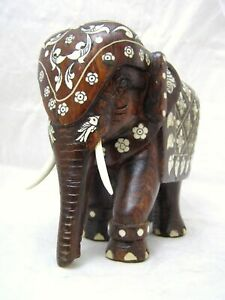 Impressive-Large-Heavy-Anglo-Indian-Bone-Inlaid-Mughal-Rosewood-Elephant