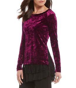 dffdb9eec4b Karen Kane 3N94861 Berry Stretch Crushed Velvet Black Lace Inset Top ...