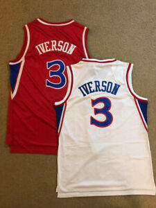 size 40 55a4e 4bf17 Details about Allen Iverson #3 Philadelphia Sixers 76ers Rookie Throwback  Red & White Jersey