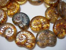 10 - 17mm Transparent Amber Mix Picasso Nautilus Snail Shell Czech Glass Beads