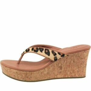 1238fcaaaf1 UGG Natassia Calf Hair Leopard Wedge Sandals, UK 6.5 (Fit UK 6) EU ...
