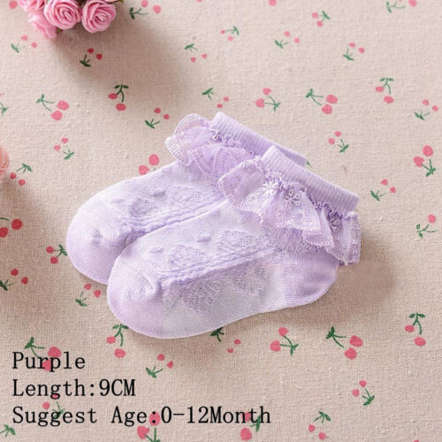 Kids Baby Girl Candy Color Princess Lace Ruffle Frilly Ankle Short Socks 5 Sizes