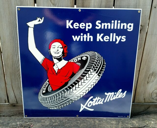 KELLY TIRES 1930'S STYLE LARGE SIZE PORCELAIN SIGN *Last One Available