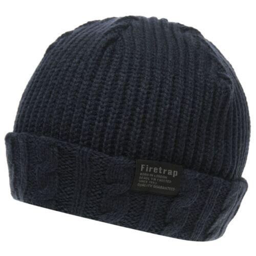 Firetrap Mens Cable Fishermans Beanie Hats Winter Warm Skull Caps Accessories