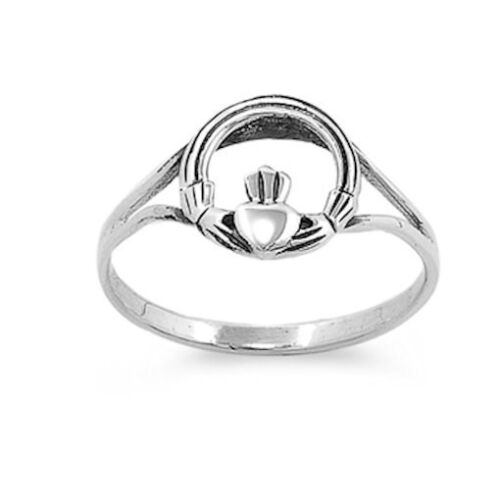 Circle Claddagh Ring Sterling Silver
