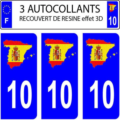 3 stickers plaque immatriculation auto DOMING 3D RESINE DRAPEAU ESPAGNE N° 10