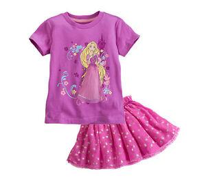 Girl Set skirt Frozen A00011 Gonna e Maglia Completo Rapunzel T-shirt