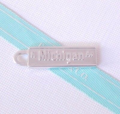 Tiffany & Co Silver Michigan Ave Street Sign Rectangle Charm Pendant w Pouch