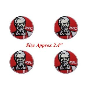 4-pcs-Logo-KFC-Patch-Embroidered-Iron-or-Sew-on-Coat-Jacket-bag-hat-Jeans