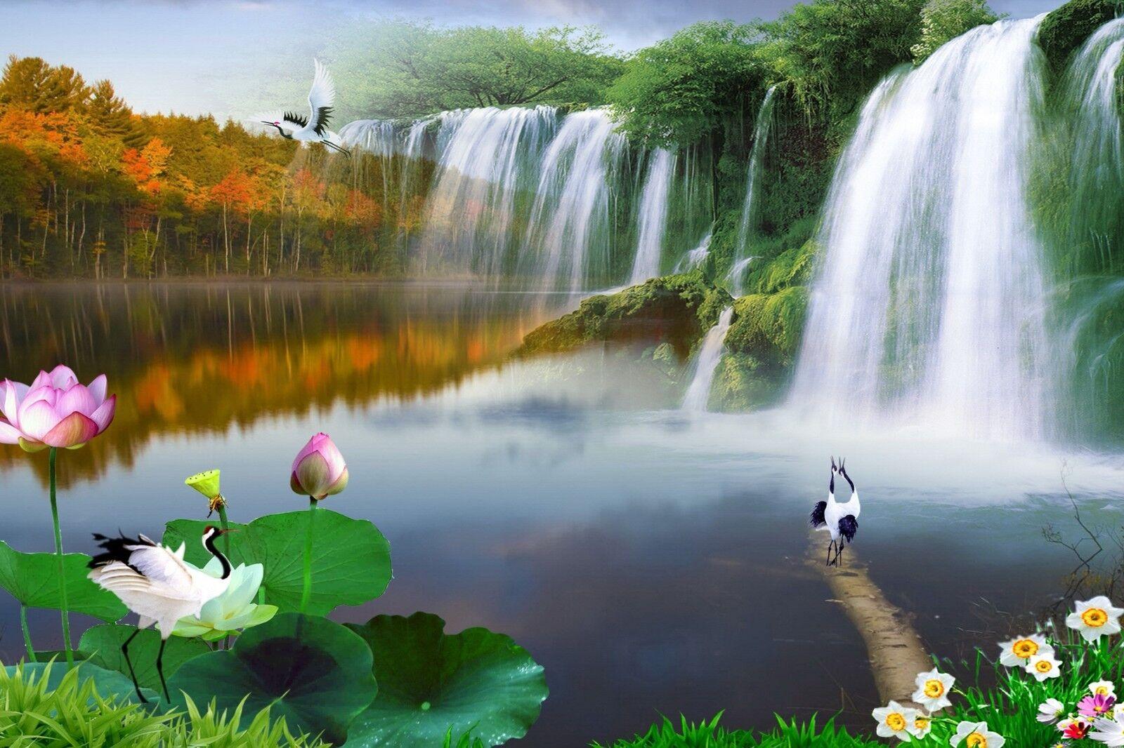 3D Wasserfall Landschaft Landschaft Landschaft 8983 Tapete Wandgemälde Tapeten Bild Familie DE Jenny  | Sale  | Clever und praktisch  | Fuxin  9e9355