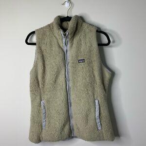 Patagonia-gray-fuzzy-faux-fur-zip-up-vest-jacket-women-039-s-size-M