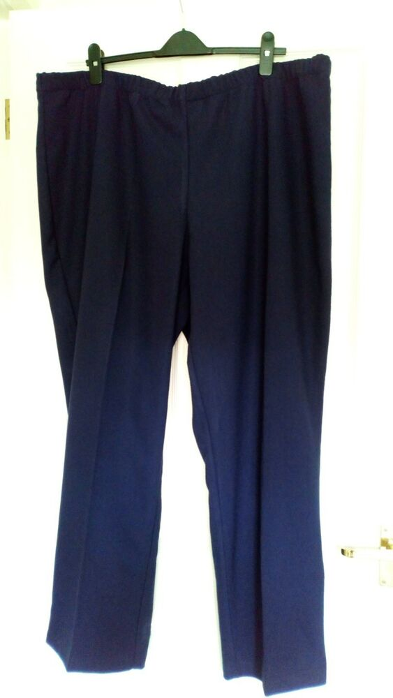 """2xl Heavy Knit Susan Graver Jambe Large Pantalon Taille 46"""" Bleu Marine Qvc Longueur 30"""" Neuf Haute Qualité Et Bas Frais GéNéRaux"""