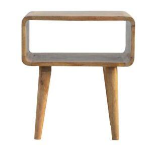 Solid Wood Scandinavian Style Rustic Oak Curved Edge Open Bedside Table Cabinet