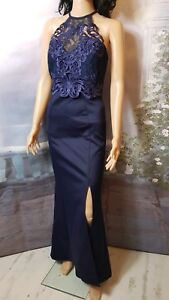 1c3b498050 Lipsy Navy Blue Embroidered Women's Side Split Maxi Dress Size 12 | eBay