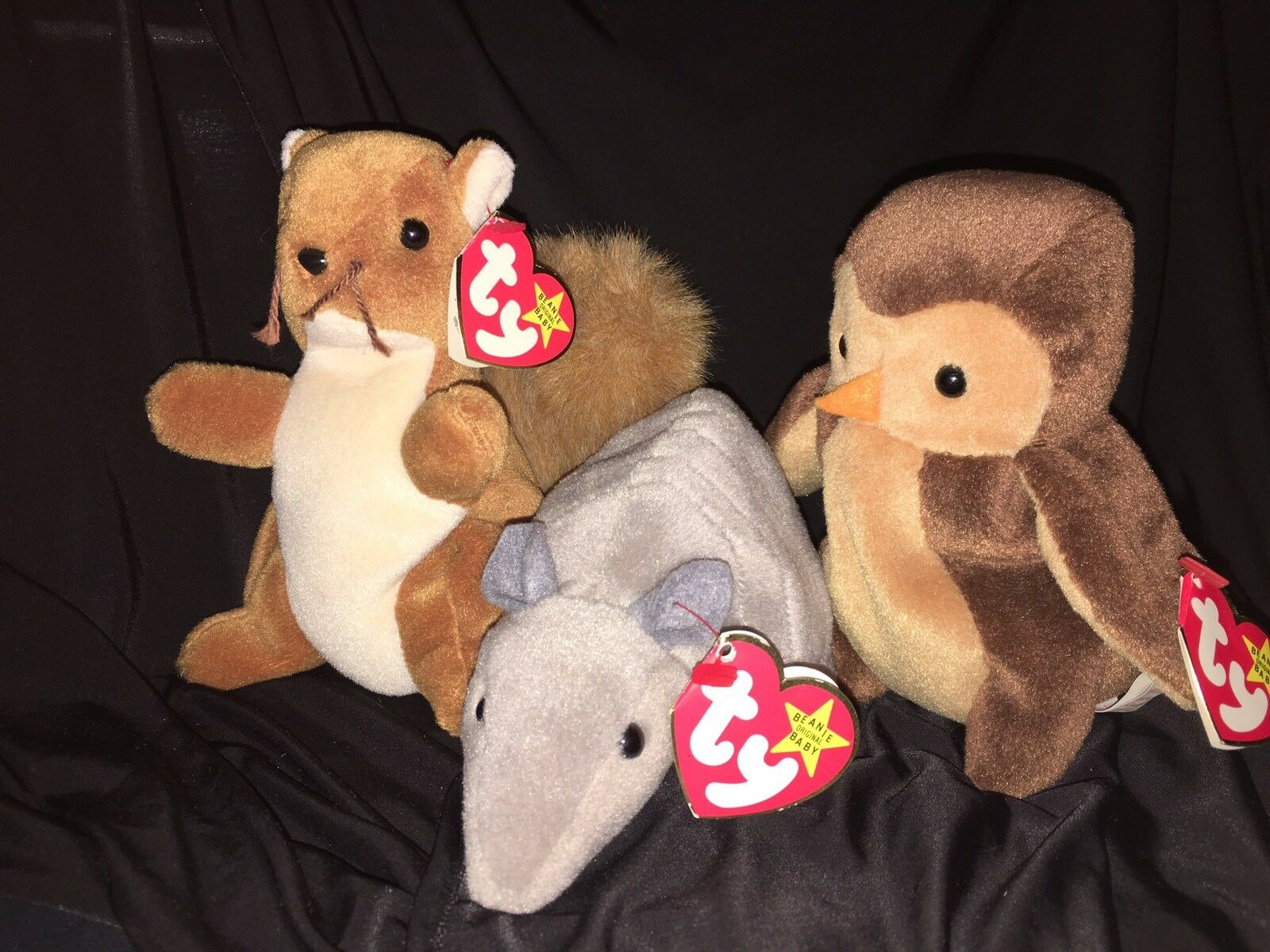 Group Of 3 Rare TY Beanie Babies. Hoot, Nuts & Tank