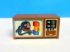 Vintage Fisher Price Little People Sesame Street Grover Brown TV Television ~VGC