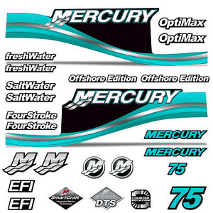 Mercury 75 Four 4 Stroke Decal Kit Outboard Engine Graphic Motor Stickers SILVER