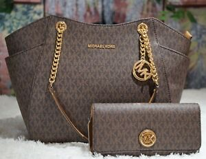 Details about NWT MICHAEL KORS JET SET TRAVEL LG Chain Shoulder Tote + WALLET In BROWN MK PVC