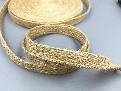 10mm 5//100M Natural Jute Hessian sequin Burlap ribbon Rustic Weddings decoration