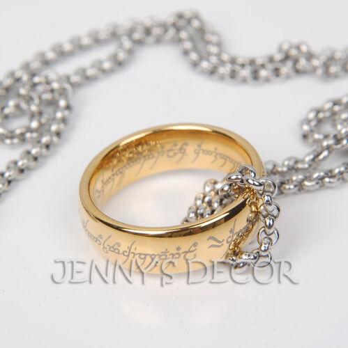 Le seigneur des anneaux bijoux or 7 mm Tungstène Anneau Unique Avec Titane Acier Chaîne