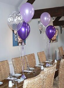 80th-Birthday-Balloons-10-Table-Decorations-Purple-and-Lilac-or-other-colours