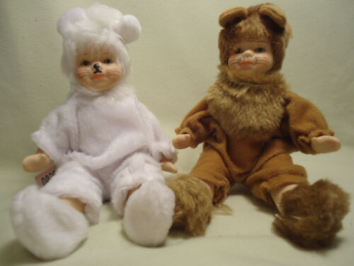 Cameo Kids Dolls 6 INCH SET//2 Porcelain LION CAT Dress Up NEW!