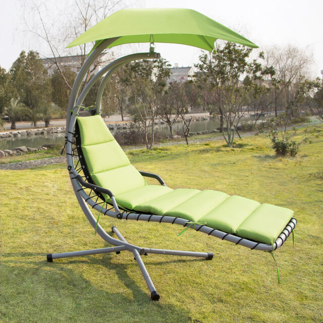 Bon Hanging Chaise Lounger Canopy Chair Arc Stand Air Porch Swing Hammock Green
