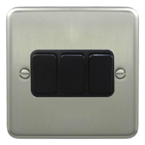 Black Inserts Deta 1905SCB Light Switch 3 Gang 2 Way Satin Chrome