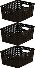 3 x Curver Nestable Rattan Basket Brown Small Storage Plastic Wicker Tray 8L